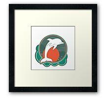 Dolphin Moonlight Red Framed Print