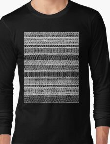 Chaotic geometry - Black and White Long Sleeve T-Shirt
