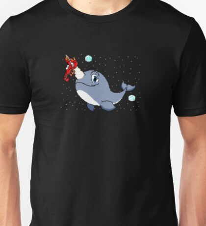 Narwhal & Lobster flying through space Unisex T-Shirt