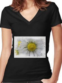 white daisies in spring Women's Fitted V-Neck T-Shirt
