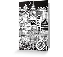 Black and White town at night illustration Greeting Card