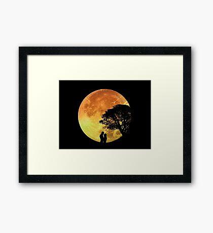 Couple Love Romance Lovers Moonlight Romantic Framed Print