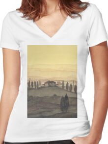Toscana Sonnenaufgang Women's Fitted V-Neck T-Shirt