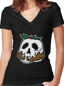 Poison Christmas Pudding Women's Fitted V-Neck T-Shirt