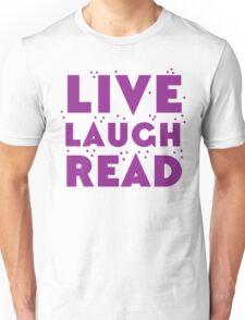 LIVE LAUGH READ in purple Unisex T-Shirt