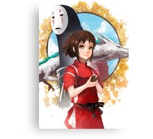 Haku, Chihiro and No Face Canvas Print