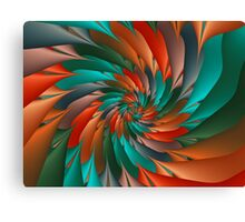 Green & Orange Spiral Fractal  Canvas Print