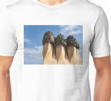 Whimsical Chimneys - Antoni Gaudi's Bottle Glass Trio at Casa Mila Unisex T-Shirt