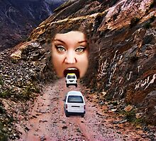 (✿◠‿◠) FACE IN MOUNTAIN OPEN MOUTH DRIVE THROUGH THROW PILLOW (✿◠‿◠) Photographic Print