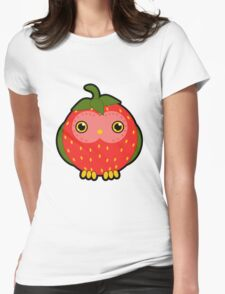 Strawberry owl Womens Fitted T-Shirt