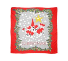 Little village in snow with Christmas and yellow star Scarf