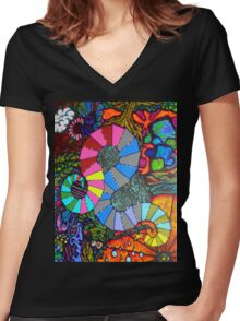 gestation of a blockhead Women's Fitted V-Neck T-Shirt