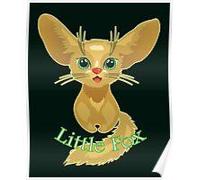 Vector illustration of cute gold Fox Poster