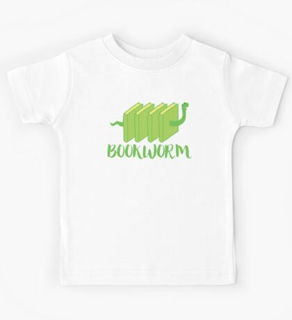 Bookworm in green (with worm) Kids Tee