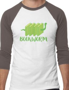 Bookworm in green (with worm) Men's Baseball ¾ T-Shirt