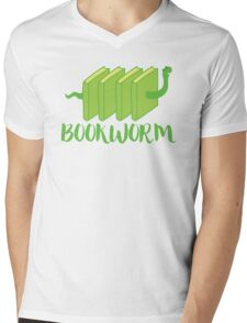 Bookworm in green (with worm) Mens V-Neck T-Shirt