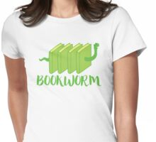 Bookworm in green (with worm) Womens Fitted T-Shirt