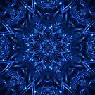 Electric Blue Fractal Kaleidoscope  by Kitty Bitty