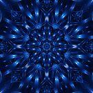 Electric Blue Fractal Kaleidoscope Mandala by Kitty Bitty