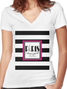 Paris Quote Audrey Hepburn Pink Black Women's Fitted V-Neck T-Shirt