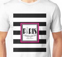 Paris Quote Audrey Hepburn Pink Black Unisex T-Shirt