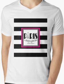 Paris Quote Audrey Hepburn Pink Black Mens V-Neck T-Shirt
