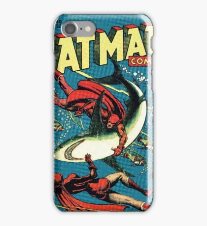 Vintage Golden-age CAT-MAN vs Sharks Comic Book Cover Art RETRO iPhone Case/Skin