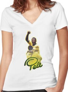 Pele World Cup Brazil Women's Fitted V-Neck T-Shirt
