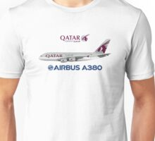 Illustration of Qatar Airways Airbus A380 Unisex T-Shirt