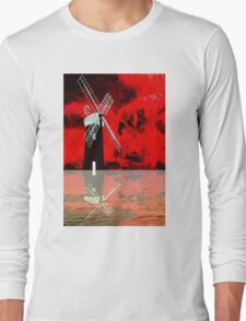 Horsey Drainage Mill, Norfolk Broads with reflection Long Sleeve T-Shirt
