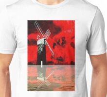 Horsey Drainage Mill, Norfolk Broads with reflection Unisex T-Shirt