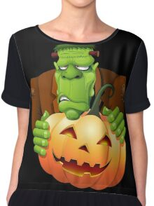 Frankenstein Monster Cartoon with Pumpkin Chiffon Top