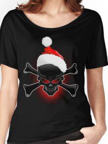Christmas Santa Black Skull Women's Relaxed Fit T-Shirt