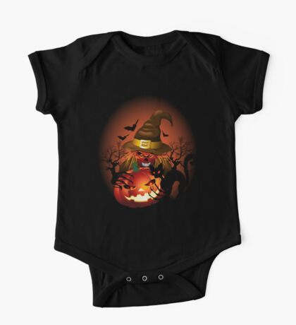 Skull Witch Creepy Halloween One Piece - Short Sleeve