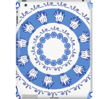 round blue ornament with flowers and natural elements iPad Case/Skin
