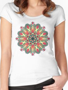 Folk round decorative ornament Women's Fitted Scoop T-Shirt