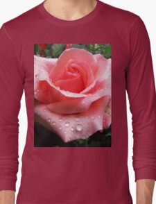 Pink Rose with Dew  Long Sleeve T-Shirt