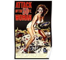 Retro Vintage Drive in Movie Attack of the 50 ft. Woman Poster