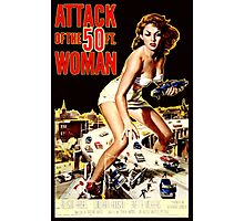 Retro Vintage Drive in Movie Attack of the 50 ft. Woman Photographic Print