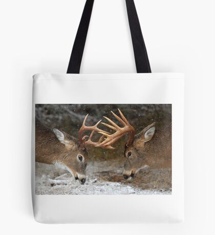Clash of the Titans - White-tailed deer Tote Bag