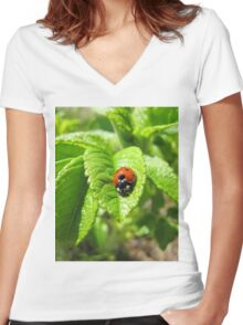 Ladybug walked on the leaf like never before 2 Women's Fitted V-Neck T-Shirt