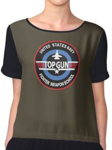 United States Navy Fighter Weapons School Top Gun Insignia Chiffon Top