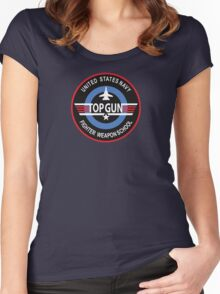 United States Navy Fighter Weapons School Top Gun Insignia Women's Fitted Scoop T-Shirt