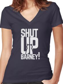 Shut Up Barney! Women's Fitted V-Neck T-Shirt