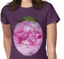 Pink Peony with Rain Drops Womens Fitted T-Shirt