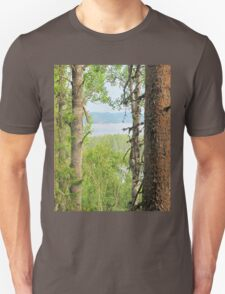Nice view from the forest high up Unisex T-Shirt