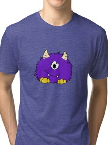 Fuzzy Little Monsters - Purple Tri-blend T-Shirt