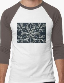 Blue Snowflake Men's Baseball ¾ T-Shirt