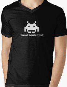 Space Invaders - I Want To Believe Mens V-Neck T-Shirt