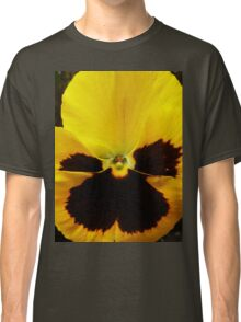 Golden Black Eyed Pansy Violet Yellow Flower Classic T-Shirt